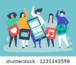 characters of people holding... | Shutterstock .eps vector #1231143598