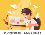 stressed angry young man... | Shutterstock .eps vector #1231148155