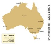 Map of Australia with all important cities and information data table.