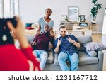 multiracial smiling male and... | Shutterstock . vector #1231167712