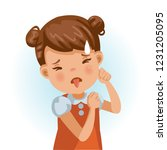 little girl looking of disgust.... | Shutterstock .eps vector #1231205095