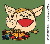 casino winner pig woman w. a...   Shutterstock .eps vector #1231206952