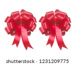 red ribbon bow isolated on... | Shutterstock . vector #1231209775