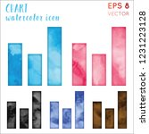 chart watercolor icon set.... | Shutterstock .eps vector #1231223128