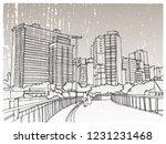 scene street illustration. hand ... | Shutterstock .eps vector #1231231468