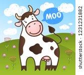 vector cute little cow in the...   Shutterstock .eps vector #1231231882