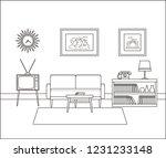 linear room interior. retro... | Shutterstock . vector #1231233148