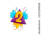 children's yellow flying number ... | Shutterstock .eps vector #1231234018