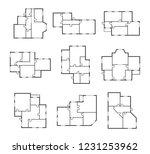 apartment plans signs black... | Shutterstock .eps vector #1231253962