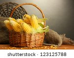 Fresh Corn In Basket  On Wooden ...