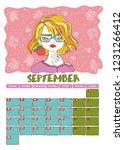 september. calendar 2019. month.... | Shutterstock .eps vector #1231266412