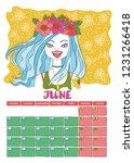 june. calendar 2019. month.... | Shutterstock .eps vector #1231266418