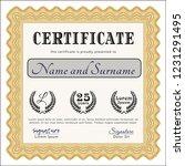 orange certificate. with... | Shutterstock .eps vector #1231291495