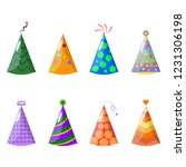 set of birthday party hat... | Shutterstock .eps vector #1231306198