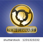 gold emblem or badge with... | Shutterstock .eps vector #1231323232