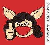 emoji with brunette pig woman... | Shutterstock .eps vector #1231333402