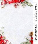 christmas decoration. frame of... | Shutterstock . vector #1231335958