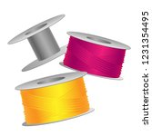 yellow and pink threads on... | Shutterstock .eps vector #1231354495