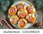 cute pig buns with sausages  ... | Shutterstock . vector #1231358215