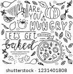 food doodle art. vegetables ... | Shutterstock .eps vector #1231401808