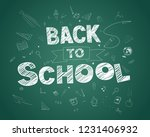 back to school text drawing in...   Shutterstock . vector #1231406932