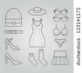 Women Clothing Icons : NO.2 - stock vector