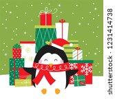 penguin's christmas gifr... | Shutterstock .eps vector #1231414738