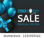 cyber monday sale poster or... | Shutterstock .eps vector #1231435162
