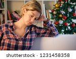 sad christmas days for lonely... | Shutterstock . vector #1231458358