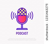 podcast thin line icon ... | Shutterstock .eps vector #1231463275