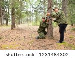 foresters install photo traps... | Shutterstock . vector #1231484302