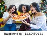 three happy asian women sharing ... | Shutterstock . vector #1231490182