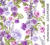 watercolor pattern with roses... | Shutterstock . vector #1231492408