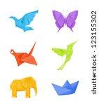 origami vector set  multicolored | Shutterstock .eps vector #123155302