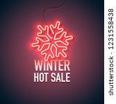 neon sign. retro neon winter... | Shutterstock .eps vector #1231558438