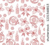 seamless pattern with holly ...   Shutterstock .eps vector #1231568815