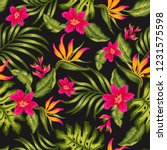 flowers and leaves tropical... | Shutterstock .eps vector #1231575598