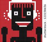 pixel man with headphones - stock vector