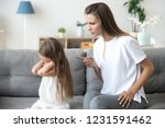 angry mother scolding lecturing ... | Shutterstock . vector #1231591462
