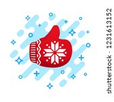 like icon. red mitten thumb up... | Shutterstock .eps vector #1231613152