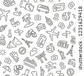 Seamless pattern with tourism and travel. Black and white thin line icons