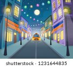 road over the street with taxi  ... | Shutterstock .eps vector #1231644835