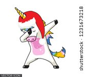 christmas dabbing unicorn... | Shutterstock .eps vector #1231673218