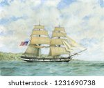 tall ship watercolor painting ... | Shutterstock . vector #1231690738