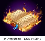 isometric burning book of magic ... | Shutterstock .eps vector #1231691848
