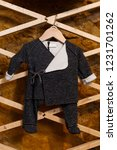 view of black romper for boy on ... | Shutterstock . vector #1231701262