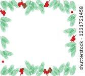 christmas frame made of fir... | Shutterstock . vector #1231721458