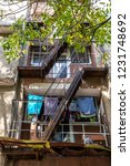 fire escape staircases with... | Shutterstock . vector #1231748692