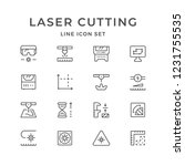 set line icons of laser cutting ... | Shutterstock . vector #1231755535