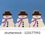 Group Of Three Snowmen Cookies...